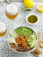 Buddha Bowls Quinoa Saumon Photo : © Patricia Kettenhofen / Brasseurs de France