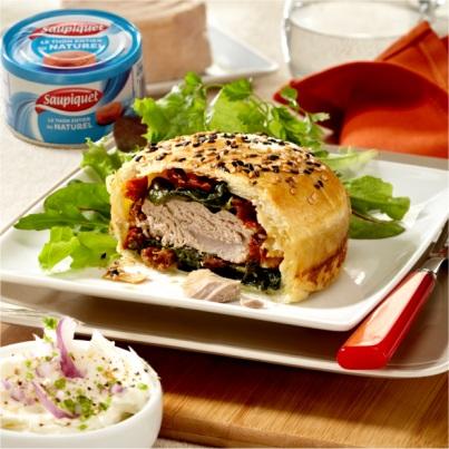 Burger de Thon à la Mozzarella et Epinards Photo : © Saupiquet