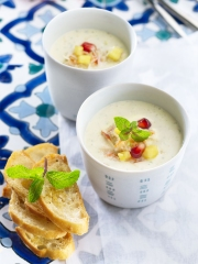 Recette Cappuccino de crabe, ananas et menthe