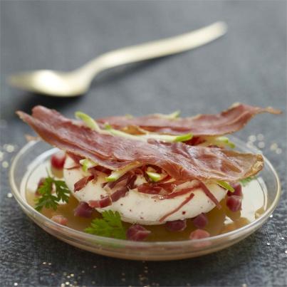 Croustillant et chantilly de jambon de bayonne gel e de pomme verte - Cours de cuisine bayonne ...
