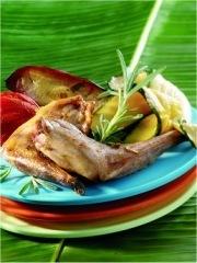 Recette Lapin au barbecue grillé au naturel et copeaux de légumes d'été