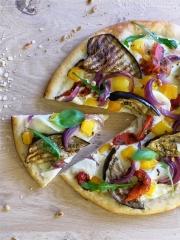 Recette Pizza blanche aux céréales et légumes grillés