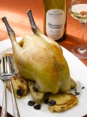 Recette Poularde pochée à la truffe, gratin Dauphinois de patate douce