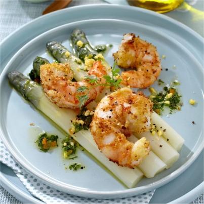 Salade d'Asperges et Crevettes Croustillantes Photo : © Puget