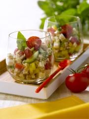 Recette Salade de Crozets, Dés de Tomates, Poivron Jaune et Concombre