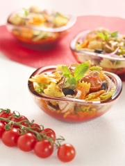 Recette Salade de Farfalle Tricolore Barilla au poulpe, sauce aux poivrons
