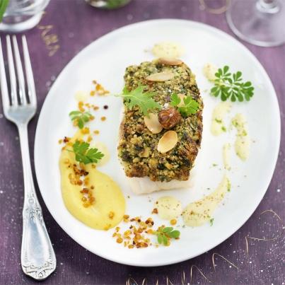 Turbot croustillant noisette amande, sauce cannelle Photo : © Patricia Kettenhofen