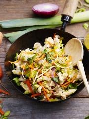 Recette Wok de poulet sauté au soja, Poireaux de Normandie et ses carottes